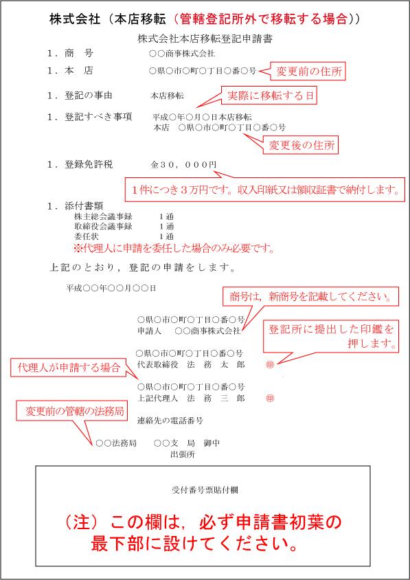 登記申請書(管轄外移転