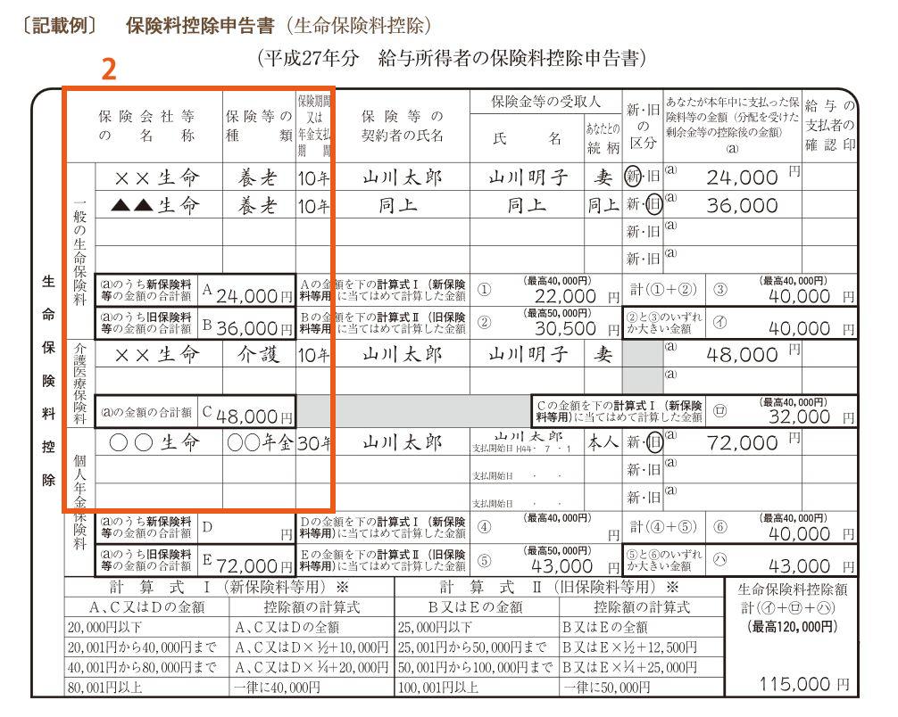 保険料控除申請書2