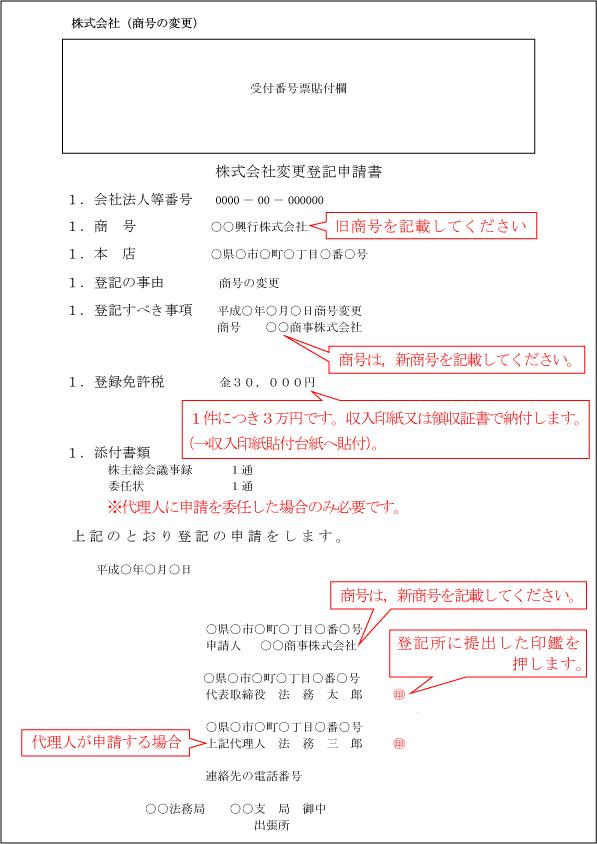 登記申請書(商号変更