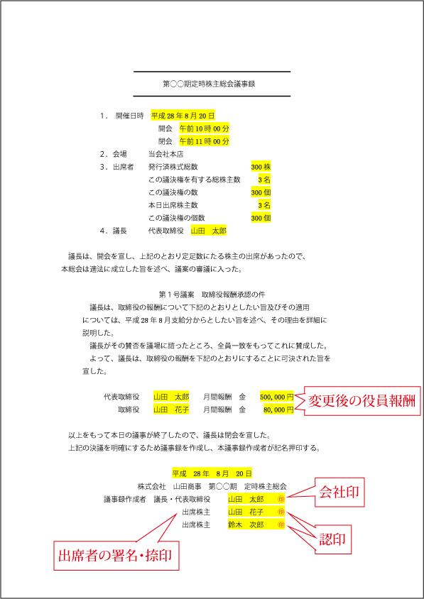 [変更時]定時株主総会議事録