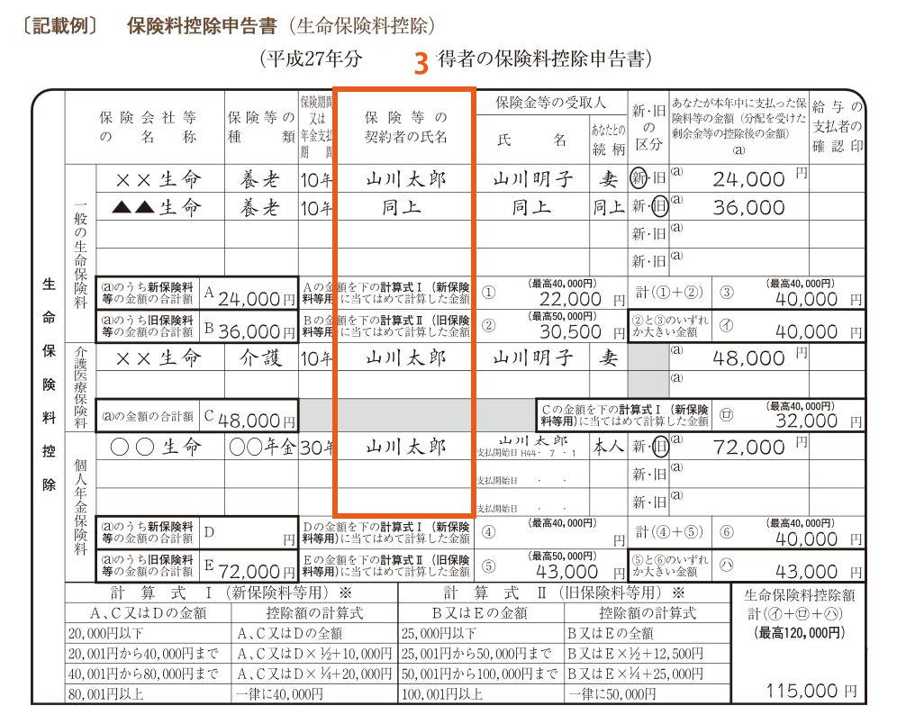 保険料控除申請書3